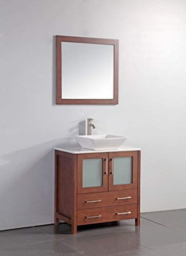 "Legion Furniture WA7830C 30"" Artificial Stone Top Vessel Sink Bathroom Vanity with Matching Framed Mirror and, Cherry Finish - Artificial Stone Top Pre-drilled with one hole slot 30"" Cherry Solid Wood Sink Vanity With Mirror - bathroom-vanities, bathroom-fixtures-hardware, bathroom - 41IRwyARHML -"