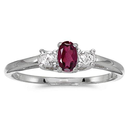 (FB Jewels 14k White Gold Genuine Red Birthstone Solitaire Oval Rhodolite Garnet And Diamond Wedding Engagement Statement Ring - Size 10.5 (0.23 Cttw.))