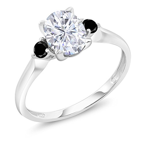 (10K White Gold Solitaire w/Accent Stones Ring Forever Classic Oval 1.50ct (DEW) Created Moissanite by Charles & Colvard and Diamond (Size 7))