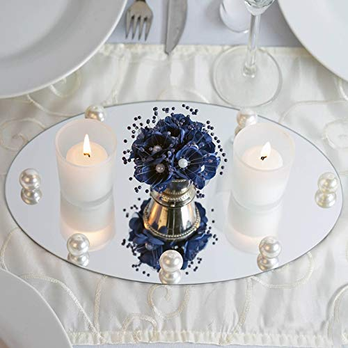 Efavormart Oval Glass Mirror Wedding Party Table Decorations Centerpieces - 4 PCS