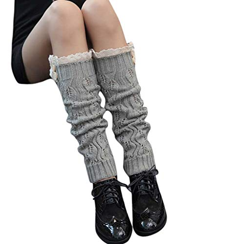 (PASATO Women Winter Wild Warm Cable Leg Warmers Knitted Crochet Button Sexy Lace Long Soild High Knee Socks(Grey,free)