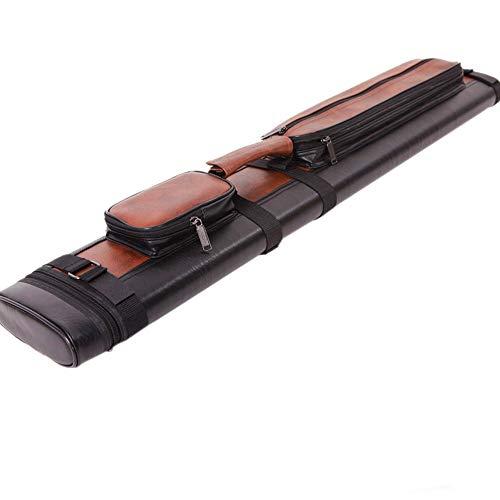 Lapha' Bag Billiard Pool Leather Case Picket 2x2 1/2 Stick Pool Hard Cue Tube Case Black & Brown Hole Pocket