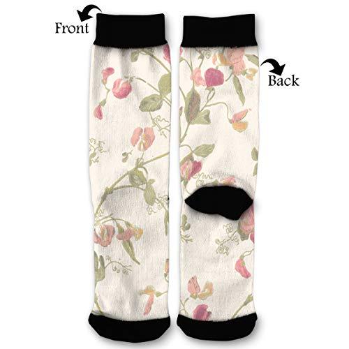 Sweet Designs Pea Red (Sweet Pea Flowers Socks Funny Fashion Novelty Advanced Moisture Wicking Sock for Man Women)
