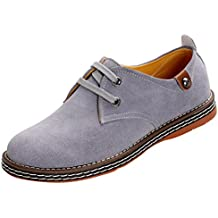 Serene Men's Leisure Round Toe Suede Shoes Two Eyelets Lace Up Fashion Oxfords