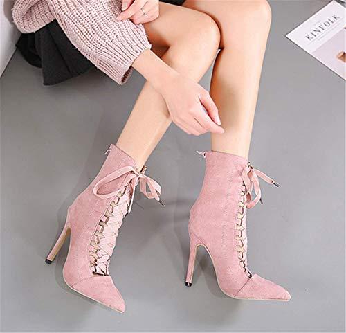 Aiguille Kaki Taille Lacets Boots Casual Hiver Escarpins Grande Bottine Pointu Femme Chic Haut Chaussure Automne Rose Talon Fanessy Noir Mode À OwYvq8