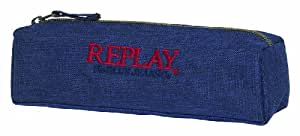 Replay - Estuche de tela cuadrado, color azul