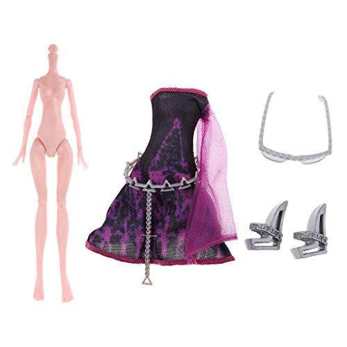 Fenteer Perfect Christmas Birthday Gift - Pink Skin Nude Monster Girl Doll Body Model & Party Dress Shoes for Monster High Girl -