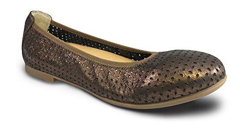 Revere Paris Chaussures De Confort Pour Femmes Avec Repose-pieds Amovible En Cuir Bronze / Lazer