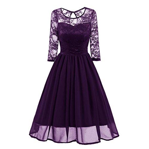 Janly Vintage Kleider Frau Eleganter Spitze Patchwork Lang Damen