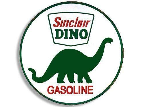 MAGNET 4x4 inch Round Vintage Sinclair Dino Gas Sticker (Gasoline Logo Old Rat Rod) Magnetic vinyl bumper sticker sticks to any metal fridge, car, signs