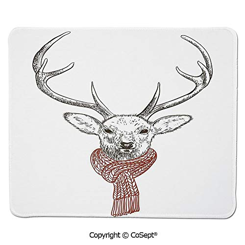 Quality Selection Comfortable Mouse Pad,Illustration of a Deer Wearing Scarf Knitted Neck Wintertime Cold December Seasonal Decorative,for Laptop,Computer & PC (15.74