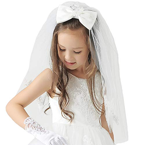 Elesa Miracle Flower Girl Bow Embroidered Wedding Veil, Ivory, In Gift Box