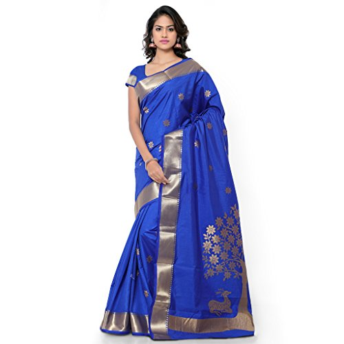 Janasya Women's Royal Blue Kanchipuram Art Silk Saree (JNE1152-ROYALBLUE-SR-NYJB5002RB)