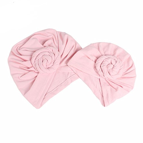 Price comparison product image BALANSOHO Baby Hats Beanie Knotted Headband Soft Cotton Caps Fashion Mommy Kids Turban Hat Cap Newborn Gift (Pink)