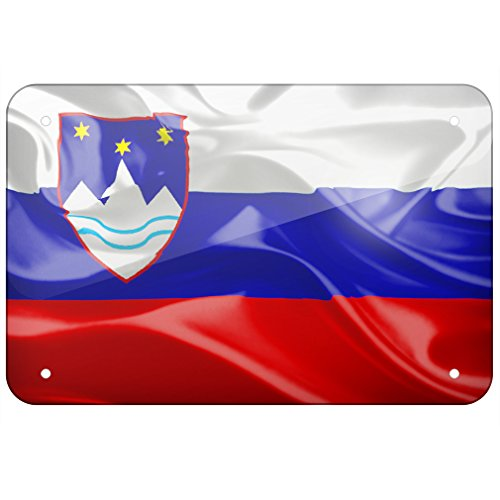 NEONBLOND Metal Sign Slovenia 3D Flag, Small 8x12 ()