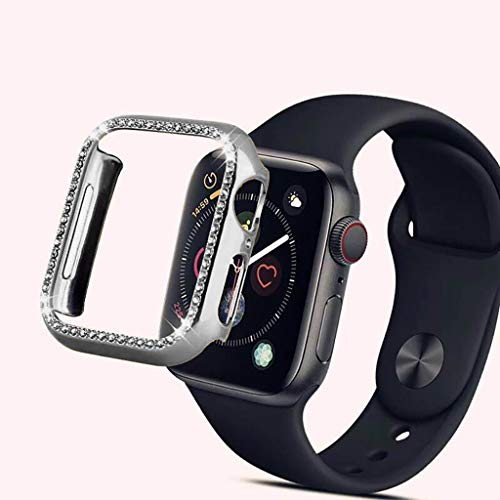 Plated Pc - Cywulin Compatible with Apple Watch Case 40mm 44mm, Women Girls iWatch Series 4 PC Plated Bling Glitter Frame Diamond Rhinestone Rugged Armor Bumper Protective Cover Crystal Protector (44mm, Silver)