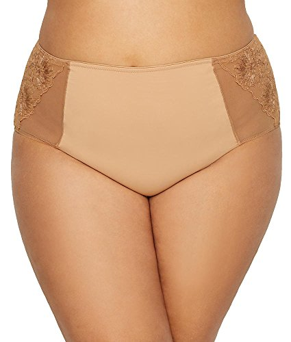 Curvy Couture Glistening Embroidered Brief, L, Bombshell Nude