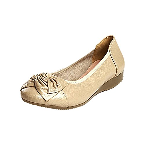 women flats Handmade Flats leather car styling ballet casual driving shoes Beige on slip women shoes loafer SODIAL female genuine US4 R Shoes PPtxrwAq7