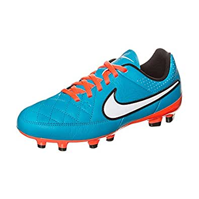 Nike Boys Youth Tiempo Genio Leather Firm Ground Soccer Shoes NEO TURQ/HYPER CRIMSON
