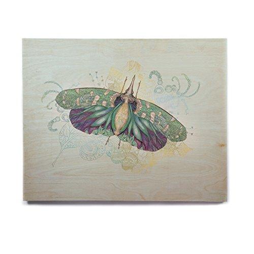 KESS InHouse - Arte de pared de madera de abedul, diseño de corazón con texto Blue Deco, 8' x 10', 1, 1