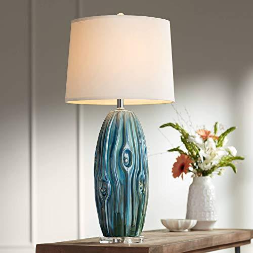Eneya Coastal Table Lamp Ceramic Blue Green Swirl Glaze Neutral Oval Shade for Living Room Family Bedroom Bedside - Possini Euro Design (Living Rooms Coastal Small)