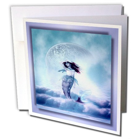 Mermaid Stationery (3dRose The Mermaid and the Moon - Greeting Cards, 6 x 6 inches, set of 6 (gc_28837_1))