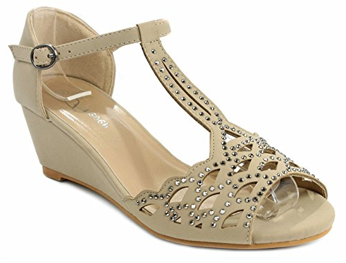 Toe Wedge Peep Low - J.J.F Shoes Blaze04 Rhinestone Peep Toe Cut Out Ankle Strap Low Wedge Dress Sandal,Taupe,7