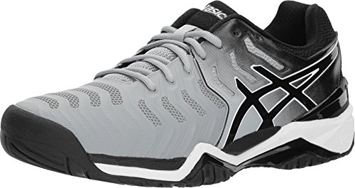ASICS Men's Gel-Resolution 7 Tennis Shoes, Mid Grey/Black/White (10 Medium US)