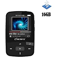 CFZC 16GB MP3 Player Bluetooth Digital Clip Portable Music Player with Pedometer Support Micro SD Card up to 64GB-Black
