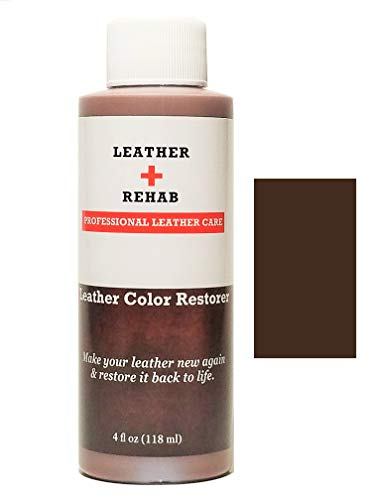 Leather Rehab Leather Color Restorer - Repair & Restore Faded, Worn and Scratched Leather & Vinyl Easily with No Kit - Furniture, Couch, Car Seat, Shoes, Jacket and Boots - 4 oz. Dark Brown Cocoa