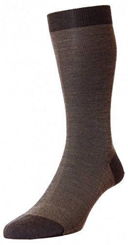 Discount Dark Brown Mix Beaumont Birdseye Merino Wool Socks by Pantherella for sale