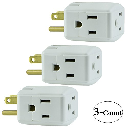 3 Packs of GE Grounded 3-Outlet Tap 58368