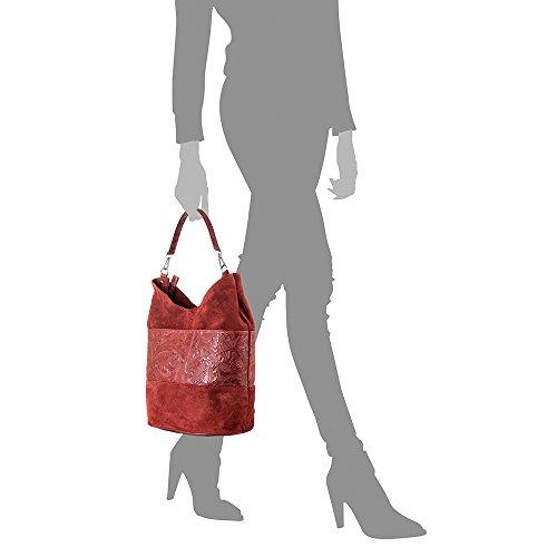 Made Genuino Vera Grande Italy Gamuza Cuero piel Leather Arabesco Con Auténtica Firenze bolso In Piel bolso 32x30x20 Italiana Cm Pelle Bag De Color Mujer Artegiani Franja Grabado Shopping Rojo wRnUqvRO1