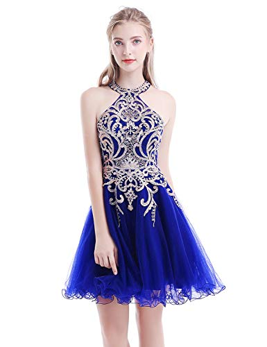 Aurora Bridal Women's Halter Beaded Homecoming Dresses 2018 Short Tulle Prom Gown Size 4 Royal Blue