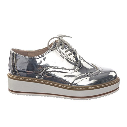 Bonnibel Retro Wingtip Platform Oxford Snaker w Contrasting Lug Sole, Unisex Shoes Silver
