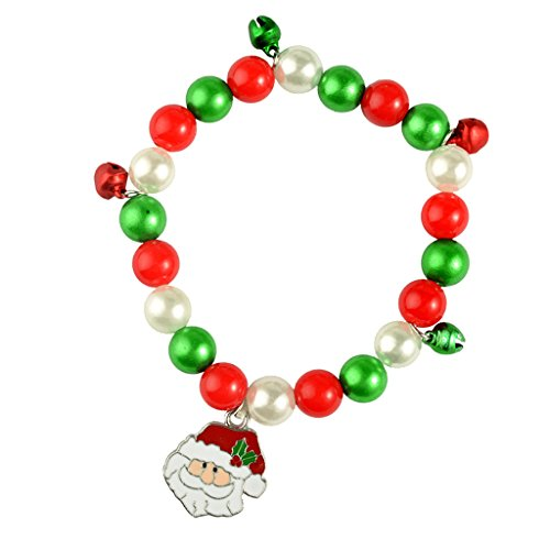 Dovewill Multi Color Beads Christmas Bracelet Charms with Jingle Bell Xmas Festival Girls Gift Xmas Themed Snowman Santa Tree Pendant - Santa Claus