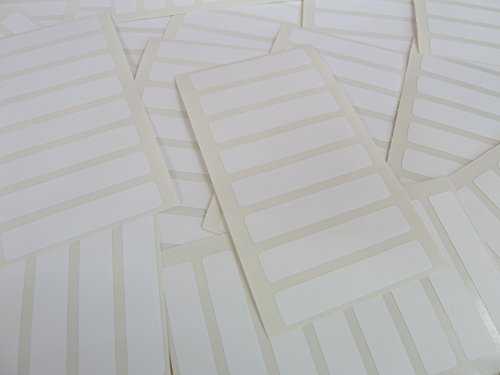 Pack of 112, 50x10mm (2 x 0.4 inch) Rectangles, White Paper Labels, Removable Low Tack Adhesive Rectangles, Easy to Remove, Plain Stickers (Rectangle Removable Labels)