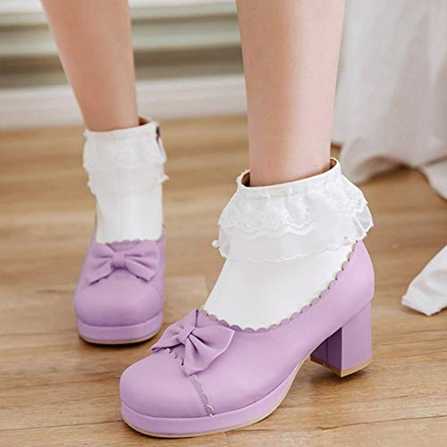 Purple Bowknot Coolcept Lovely Boots Ankle Heel Women Block x0WCwHBfq