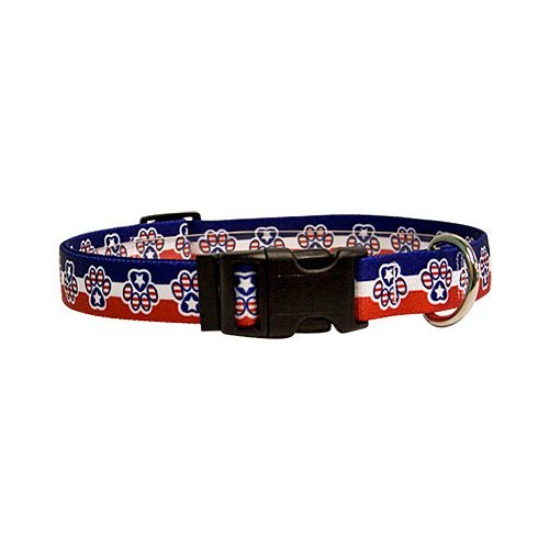 "Yellow Dog Design Easy-Snap Pet Collar, Patriotic Paw, Teacup 4"" - 9"""