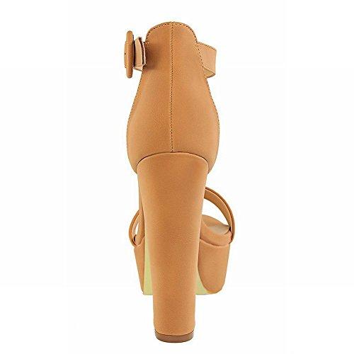 Sandalo Alla Caviglia Da Donna Con Fibbia A Punta Aperta Sandali Con Tacco Alto E Prestazioni Cammello