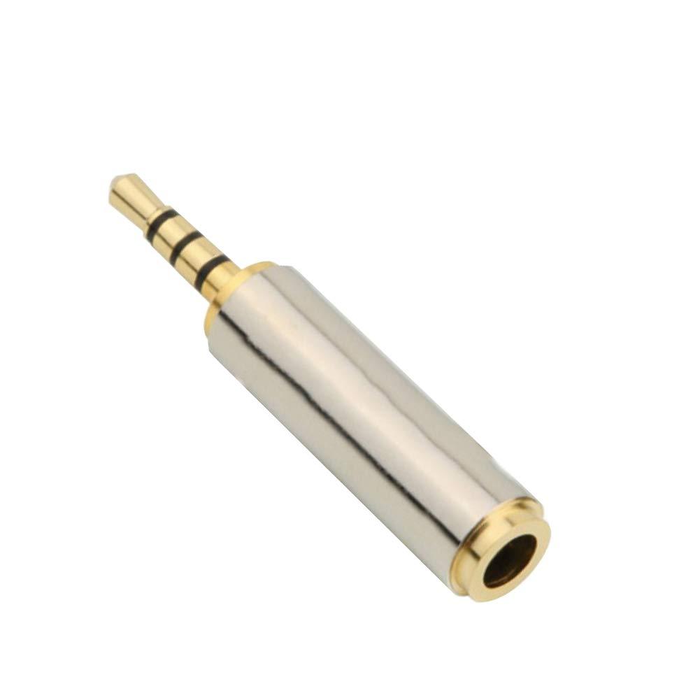 Naisidier 2.5mm Male To 3.5mm Female Audio Adapter Premium Quality Converter Headphone Earphone Headset Golden