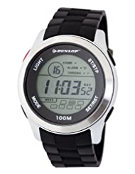 Dunlop Unisex Digital Watch with LCD Dial Digital Display and Black Plastic or PU Strap DUN-204-G01
