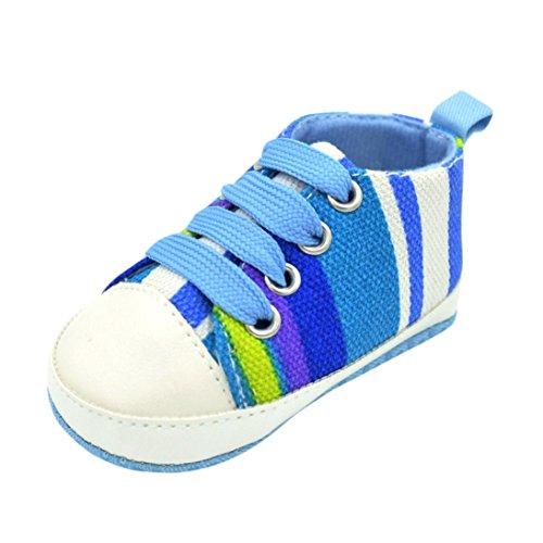 Babyschuhe Longra Baby Mädchen Jungen Krabbelschuhe Streifen Turnschuh Espadrilles Anti Rutsch weiche alleinige Sneaker Lauflernschuhe (0 ~ 18 Monate) Blue