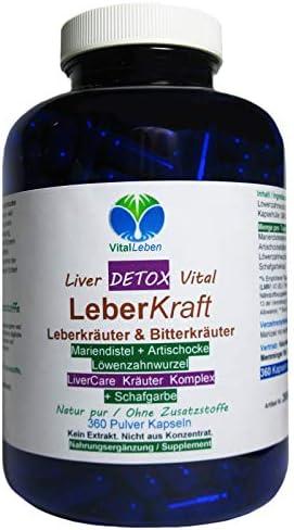 Leber Kraft Liver Care DETOX Vital Komplex Leberkräuter + SCHAFGARBE 360 Kapseln mit Mariendistel + Artischocke + Löwenzahn NATUR pur. 26545-360