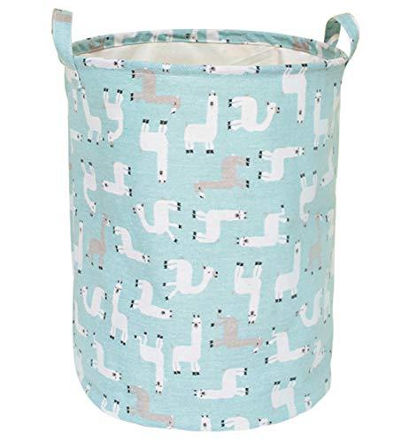 LEELI Laundry Hamper with Handles-Collapsible Canvas Basket for Storage Bin,Kids Room,Home Organizer,Nursery Storage,Baby Hamper,19.7 15.7 Llama