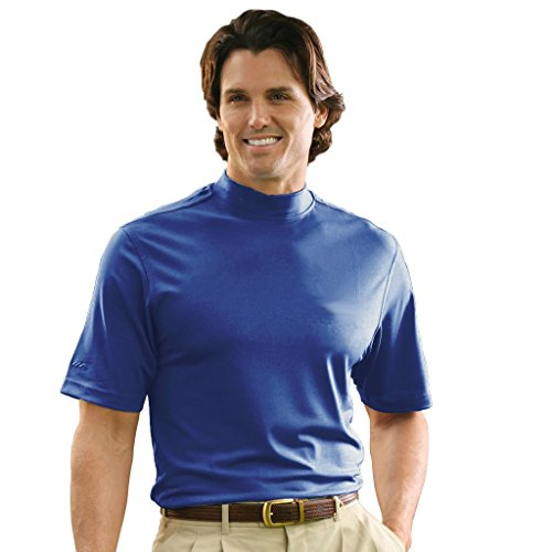 Monterey Club Mens Dry Swing Lightweight Solid Mock Jersey Shirt #3302 (Nantucket Blue, X-Large)