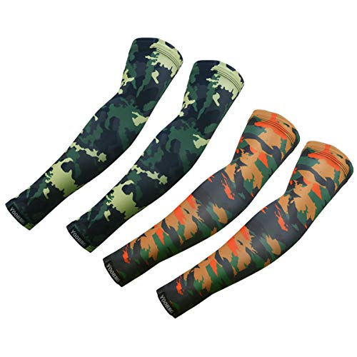 YOOBNG Sports Arm Sleeves Unisex for UV Protection Compression Athletic Cooling Anti-Slip Camo Cover Cycling Golf Basketball Running and Other Sports Men Women Youth Kids, 2 Pairs (Pink Camo Boy Shorts)