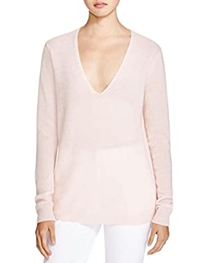 Womens Adrianna Cashmere V-Neck Pullover Sweater