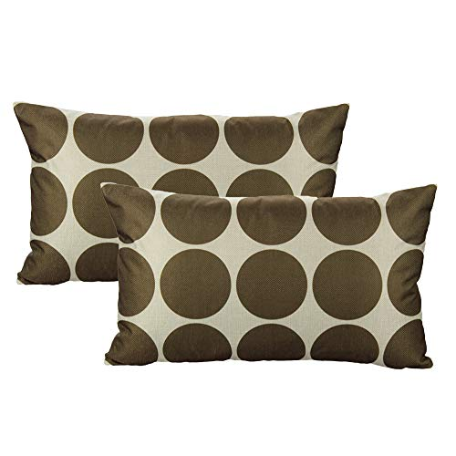 All Smiles Geometric Chocolate Lumbar Rectangle Oblong Throw Pillow Covers Cases 12x20 Set of 2 Home Decor Accent Decorative Cushion Outdoor for Couch Patio Sofa, Coffee Brown Color ()