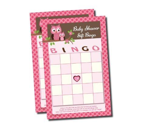 Gift Bingo - Baby Shower Game - Pink Owl